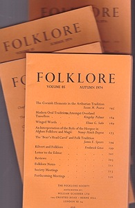Folklore: Volume 85 1974 (4 issues)Folk-Lore Society - Product Image