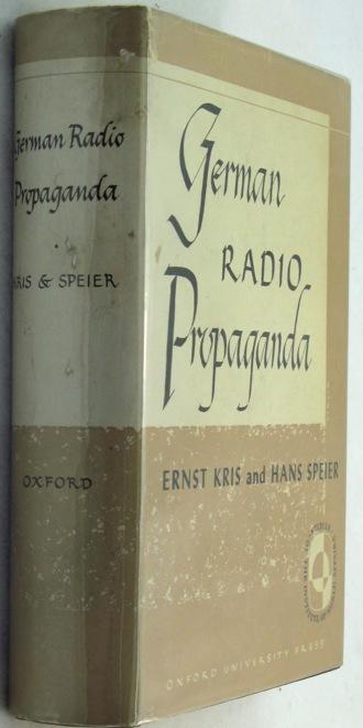 German Radio Propaganda - Report on Home Broadcasts during the WarKris, Ernst/Hans Speier - Product Image
