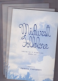 Midwest Folklore - Volume VII Nos. 1-4 (4 issues)Richmond, W. Edson - Product Image