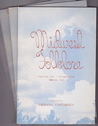 Midwest Folklore - Volume VIII Nos. 1-4 (4 issues)Richmond, W. Edson - Product Image