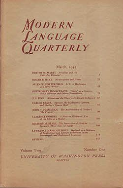 Modern Language Quarterly March 1941Heffner (Ed.), Ray - Product Image