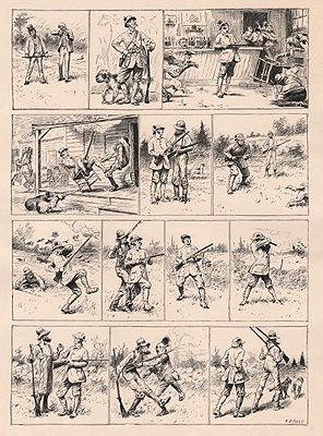 "ORIG B&W SPORTING PRINT/ ""MR. BITES AND HIS HAMMERLESS GUN""Frost (Illust.), A.B., Illust. by: A.B.  Frost - Product Image"