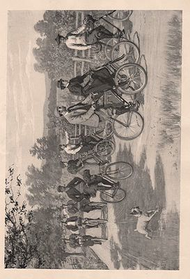 """ORIG B&W SPORTING PRINT/ """"THE TOURISTS""""illustrator- A.B.  Frost - Product Image"""