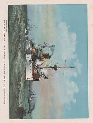 ORIG COLOR LITHO PRINT: THE MAINE SALUTING THE SPANISH FLAG-SHIP ON ARRIVING IN THE HARBOR OF HAVANAReuterdahl (Illust.), Henry, Illust. by: Henry  Reuterdahl - Product Image