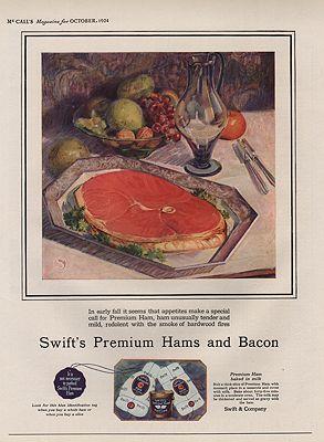 ORIG VINTAGE 1924 SWIFT'S PREMIUM HAM ADillustrator- N/A - Product Image