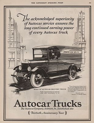 ORIG VINTAGE 1927 AUTOCAR TRUCK ADillustrator- N/A - Product Image