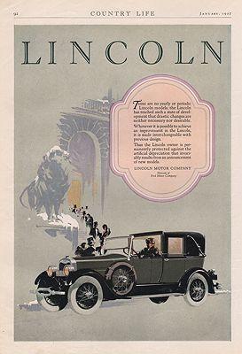 ORIG VINTAGE 1927 LINCOLN CAR ADillustrator- N/A - Product Image
