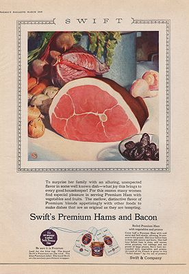 ORIG VINTAGE 1928 SWIFT PREMIUM HAM ADillustrator- N/A - Product Image