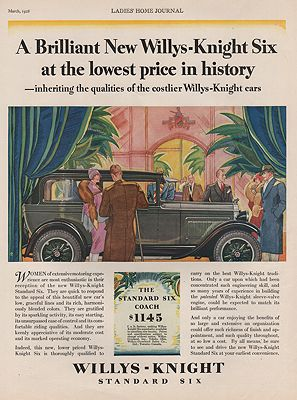 ORIG VINTAGE 1928 WILLYS-KNIGHT SIX CAR ADillustrator- N/A - Product Image