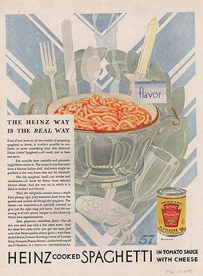 ORIG VINTAGE 1929 HEINZ SPAGHETTI ADillustrator- Rene  Clarke - Product Image