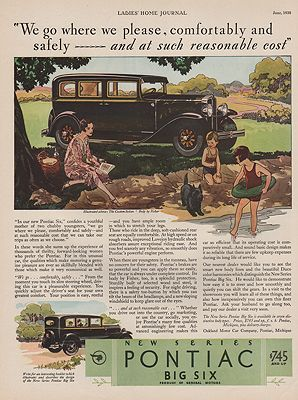 ORIG VINTAGE 1930 PONTIAC BIG SIX CAR ADillustrator- McClelland  Barclay - Product Image