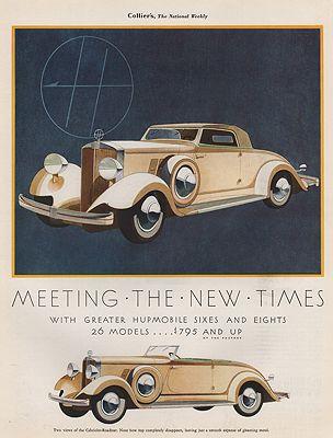 ORIG VINTAGE 1932 HUPMOBILE CAR ADillustrator- N/A - Product Image