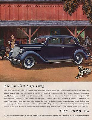 ORIG VINTAGE 1936 FORD V-8 CAR ADillustrator- James  Williamson - Product Image