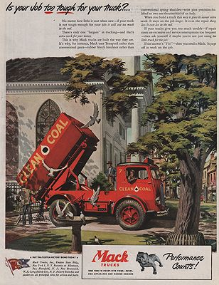 ORIG VINTAGE 1945 MACK TRUCK MAGAZINE ADillustrator- James  Bingham - Product Image