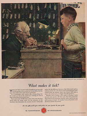 ORIG VINTAGE 1951 SWISS WATCHMAKERS ADillustrator- Norman   Rockwell - Product Image