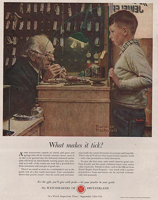 ORIG VINTAGE 1951 SWISS WATCHMAKERS ADillustrator- Norman   Rockwell - Product Image
