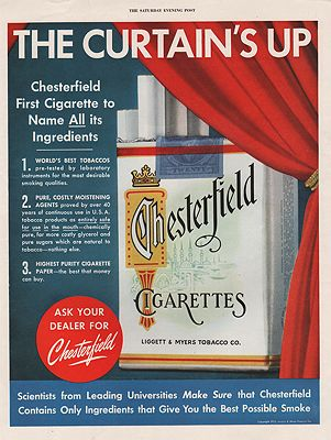 ORIG VINTAGE 1952 CHESTERFIELD CIGARETTES ADillustrator- N/A - Product Image