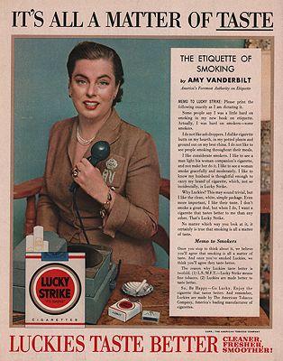 ORIG VINTAGE 1954 LUCKY STRIKE CIGARETTE ADillustrator- N/A - Product Image