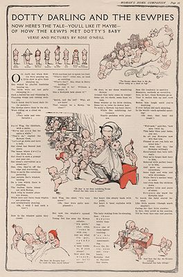 ORIG VINTAGE 2-COLOR MAGAZINE ILLUSTRATION/ DOTTY DARLING AND THE KEWPIESillustrator- Rose  O'Neill - Product Image