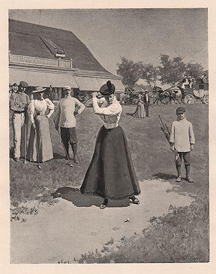 ORIG VINTAGE BOOK ILLUSTRATION/ WOMAN GOLFERillustrator- A.B.  Frost - Product Image