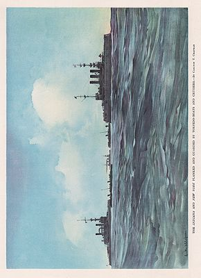 ORIG VINTAGE BOOK PRINT - THE INDIANA AND NEW YORK/ WARSHIPS ON THE SEAChapman (Illust.), Carlton T., Illust. by: Carlton  Chapman - Product Image