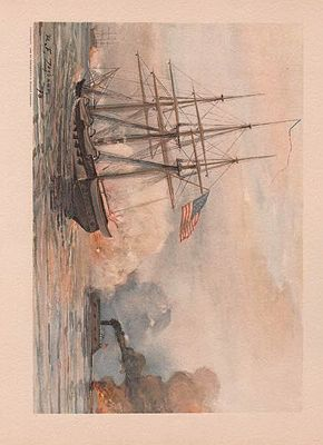 ORIG VINTAGE COLOR LITHO PRINT/ THE CUMBERLAND FIRING IN A NAVAL CONFLICTillustrator- Rufus F.  Zogbaum - Product Image