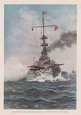 ORIG VINTAGE COLOR LITHO PRINT/ THE U.S. BATTLESHIP INDIANA AT TARGET PRACTICEZogbaum (Illust.), Rufus F., Illust. by: Rufus F.  Zogbaum - Product Image