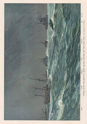 ORIG VINTAGE COLOR LITHO PRINT/ UNITED STATES WARSHIPS IN A BLOW-SQUALLY WEATHER OFF THE CUBAN COASTChapman (Illust.), Carlton T., Illust. by: Carlton T.  Chapman - Product Image