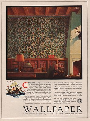 ORIG VINTAGE MAGAZINE AD / 1923 WALLPAPER MANUFACTURERS ASSOCIATION ADillustrator- Edward A.  Wilson - Product Image