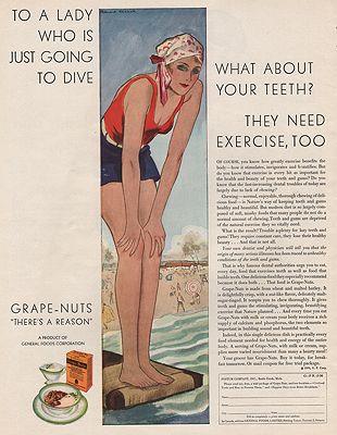 ORIG VINTAGE MAGAZINE AD / 1930 GRAPE NUTS CEREAL ADillustrator- Richard  Kranch - Product Image