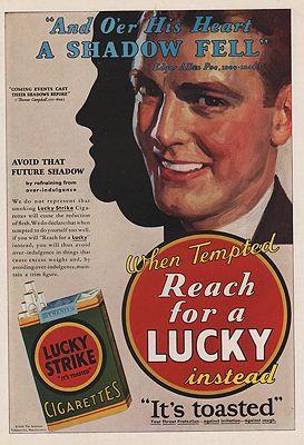 ORIG VINTAGE MAGAZINE AD / 1930 LUCKY STRIKE CIGARETTES ADillustrator- N/A - Product Image