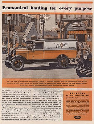 ORIG VINTAGE MAGAZINE AD / 1931 FORD TRUCK ADillustrator- James  Williamson - Product Image