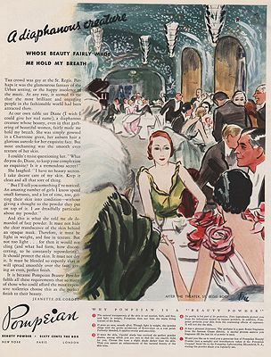 ORIG VINTAGE MAGAZINE AD / 1932 POMPEIAN BEAUTY POWDER ADillustrator- Carl  Erickson - Product Image