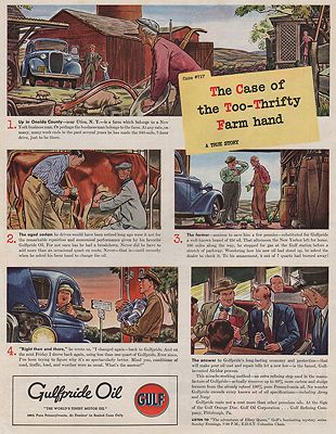 ORIG VINTAGE MAGAZINE AD / 1940 GULFPRIDE OIL ADillustrator- James  Williamson - Product Image