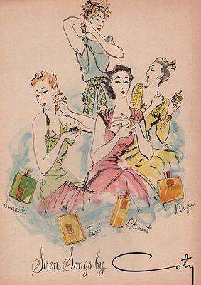 ORIG VINTAGE MAGAZINE AD / 1942 COTY COSMETICS  ADillustrator- Carl  Erickson - Product Image