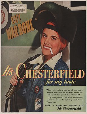 ORIG VINTAGE MAGAZINE AD / 1943 CHESTERFIELD CIGARETTES ADillustrator- N/A - Product Image