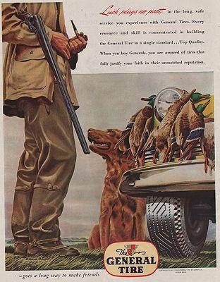 ORIG VINTAGE MAGAZINE AD / 1945 GENERAL TIRE ADillustrator- Melbourne  Brindle - Product Image