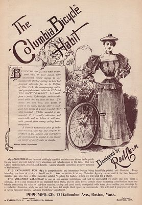 ORIG. VINTAGE MAGAZINE AD: 1894 COLUMBIA BICYCLE HABITillustrator- N/A - Product Image