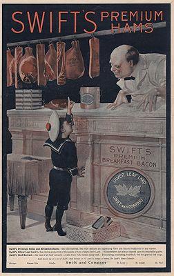 ORIG. VINTAGE MAGAZINE AD: 1894 SWIFT'S HAMS ADillustrator- N/A - Product Image