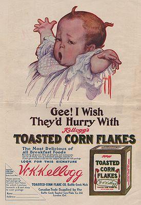 ORIG VINTAGE MAGAZINE AD/ 1909 KELLOGG'S CORN FLAKES ADillustrator- Rose  )'Neill - Product Image