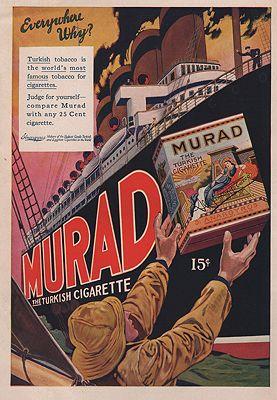 ORIG VINTAGE MAGAZINE AD/ 1910 MURAD CIGARETTE AD illustrator- N/A - Product Image