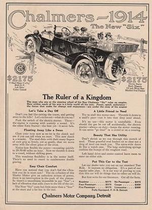 Orig Vintage Magazine Ad 1914 Chalmers Motor Co Ad