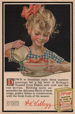 ORIG VINTAGE MAGAZINE AD/ 1916 KELLOGG'S CORN FLAKES ADillustrator- J.C.  Leyendecker - Product Image