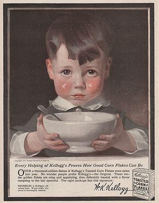 ORIG VINTAGE MAGAZINE AD/ 1917 KELLOGG'S CORN FLAKES ADillustrator- J.C.  Leyendecker - Product Image