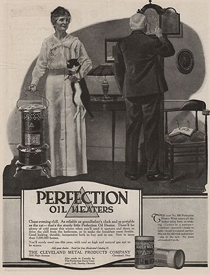 ORIG VINTAGE MAGAZINE AD/ 1917 PERFECTION OIL HEATER ADillustrator- Norman  Rockwell - Product Image