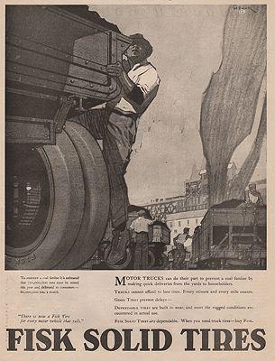 ORIG VINTAGE MAGAZINE AD/ 1918 FISK TIRE ADillustrator- Peter  Helck - Product Image