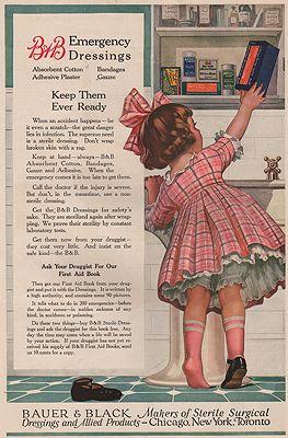 ORIG. VINTAGE MAGAZINE AD: 1919 BAUER & BLACK DRESSINGS ADillustrator- N/A - Product Image