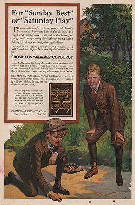 ORIG. VINTAGE MAGAZINE AD/ 1919 CROMPTON CORDUROY ADillustrator- N/A - Product Image