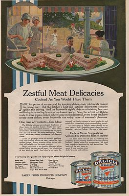 ORIG. VINTAGE MAGAZINE AD: 1919 DELICIA CANNED MEAT ADillustrator- N/A - Product Image