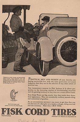 ORIG VINTAGE MAGAZINE AD/ 1919 FISK TIRE ADillustrator- Peter  Helck - Product Image